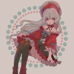 1girl aqua_flower bangs black_legwear bonnet character_request collarbone commentary_request copyright_request dress flat_chest flower frills hat hat_ribbon highres invisible_chair long_sleeves mameeekueya nail_polish open_mouth red_flower red_hat red_nails ribbon rose sitting solo