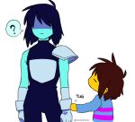 2others =_= blue_hair blue_skin brown_hair deltarune frisk_(undertale) gloves height_difference kris_(deltarune) messy_hair multiple_others nenekantoku pauldrons shaded_face shirt short_hair striped striped_shirt tug turtleneck twitter_username undertale white_gloves yellow_skin