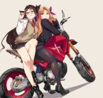 adjusting_eyewear alternate_costume black_footwear black_hair black_legwear black_skirt blonde_hair commentary commentary_request ereshkigal_(fate/grand_order) fate/grand_order fate_(series) glasses ground_vehicle hair_ribbon highres ishtar_(fate/grand_order) long_hair long_legs motor_vehicle motorcycle ohland pantyhose purple_ribbon red_eyes ribbon school_uniform shiny shiny_clothes skirt sweater_vest twintails