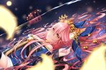 1girl animal_ears bell blue_kimono breasts cleavage ears_through_headwear fate/extra fate_(series) floating_hair fox_ears fox_girl fox_tail gate headpiece highres japanese_clothes kimono large_breasts long_hair moon night night_sky parted_lips partially_submerged pink_hair reflection rinminii sky star_(sky) starry_sky tail tamamo_(fate)_(all) tamamo_no_mae_(fate) very_long_hair water yellow_eyes