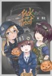 3girls artist_request baseball_cap car eyewear_on_head fbi fingerless_gloves glasses gloves ground_vehicle gun halloween handgun hat helmet highres holstered_weapon jack-o'-lantern jacket motor_vehicle multiple_girls necktie original police police_uniform pumpkin swat tactical_clothes uniform weapon