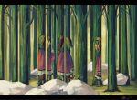 3girls animal_ears fine_art_parody forest green_hair kasodani_kyouko koto_inari multiple_girls nature optical_illusion parody rock skirt tail touhou tree
