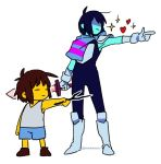 2others blue_hair boots brown_hair deltarune frisk_(undertale) full_body gloves heart kris_(deltarune) messy_hair multiple_others nenekantoku pauldrons pointing shaded_face shirt shorts simple_background sleeveless sparkle stick striped striped_shirt twitter_username undershirt undertale white_background