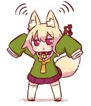 1girl animal_ear_fluff animal_ears arms_up bangs bell bell_collar blonde_hair brown_collar collar eyebrows_visible_through_hair fox_ears fox_girl fox_tail full_body green_shirt hair_between_eyes hair_ornament jingle_bell kemomimi-chan_(naga_u) long_hair long_sleeves naga_u orange_neckwear original parted_lips pleated_skirt purple_skirt red_footwear ribbon-trimmed_legwear ribbon_trim shirt sidelocks skirt sleeves_past_fingers sleeves_past_wrists solo tail tail_raised thigh-highs v-shaped_eyebrows white_background white_legwear