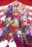 5boys 6+girls abigail_williams_(fate/grand_order) absurdres alternate_hairstyle animal_ears apple black_hair black_hat black_leotard blonde_hair blue_eyes breasts bright_pupils brown_hair cane chan_co chibi chibi_inset cleavage coattails confetti crossed_arms curtains dagger dark_skin detached_sleeves earrings epaulettes establishment_(fate/grand_order) fate/grand_order fate_(series) food fou_(fate/grand_order) fruit furry gilgamesh gilgamesh_(caster)_(fate) glasses gloves grin hair_over_one_eye hat head_wings highres hildr_(fate/grand_order) hoop hula_hoop ivan_the_terrible_(fate/grand_order) jacket jewelry juggling lavender_hair leotard long_hair mash_kyrielight mephistopheles_(fate/grand_order) multiple_boys multiple_girls napoleon_bonaparte_(fate/grand_order) official_art ortlinde_(fate/grand_order) outline pants pantyhose pectorals pink_hair poster purple_hair queen_of_sheba_(fate/grand_order) red_jacket scathach_(fate)_(all) scathach_skadi_(fate/grand_order) sharp_teeth sideburns skin_tight smile teeth textless thomas_edison_(fate/grand_order) thrud_(fate/grand_order) top_hat trapeze twintails valkyrie_(fate/grand_order) violet_eyes weapon white_gloves white_outline white_pants