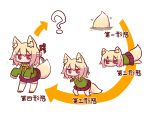 1girl ? animal_ear_fluff animal_ears bangs bell bell_collar blonde_hair blush bow brown_collar closed_mouth collar directional_arrow evolution eyebrows_visible_through_hair fox_ears fox_girl fox_tail green_shirt hair_between_eyes hair_bow hair_ornament jingle_bell kemomimi-chan_(naga_u) long_hair long_sleeves lying naga_u on_stomach orange_neckwear original pleated_skirt purple_skirt red_eyes red_footwear ribbon-trimmed_legwear ribbon_trim sailor_collar school_uniform serafuku shirt sidelocks simple_background skirt sleeves_past_fingers sleeves_past_wrists soil sparkle standing tail thigh-highs translated white_background white_legwear white_sailor_collar