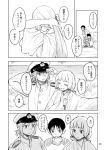 2boys 2girls admiral_(kantai_collection) comic glasses grass kantai_collection long_hair monochrome multiple_boys multiple_girls murakumo_(kantai_collection) nathaniel_pennel shirt t-shirt tied_hair translation_request