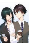 2boys alternate_costume black_hair blue_eyes coffee cup disposable_cup fate/grand_order fate_(series) fujimaru_ritsuka_(male) green_hair male_focus multiple_boys necktie school_uniform shijiu_(adamhutt) striped_neckwear teacher_and_student ticket waistcoat yan_qing_(fate/grand_order)
