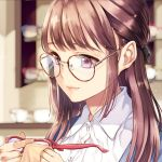 1girl black_ribbon blurry blurry_background brown-framed_eyewear brown_eyes brown_hair cleaning_glasses dress_shirt glasses glasses_day hair_ribbon heterochromia highres holding holding_eyewear long_hair matsuzaki_miyuki original red-framed_eyewear ribbon round_eyewear shirt smile solo upper_body violet_eyes white_shirt