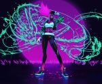 1girl absurdres akali asymmetrical_legwear baseball_cap bodypaint breasts crop_top cropped_jacket dragon facial_mark gang_g glowing hat hat_tip highres idol inverted_colors k/da_(league_of_legends) k/da_akali league_of_legends long_sleeves looking_at_viewer midriff navel pants pink_hair shoes sneakers solo spray_can standing yellow_eyes