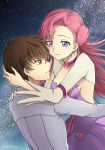 1boy 1girl breasts brown_hair choker code_geass collarbone couple dress earrings euphemia_li_britannia eyebrows_visible_through_hair floating green_eyes grey_jacket grey_sleeves hair_between_eyes highres jacket jewelry kururugi_suzaku long_hair medium_breasts parted_lips pink_eyes pink_hair purple_dress setu_kurokawa shrug_(clothing) sideboob sky sleeveless sleeveless_dress smile star_(sky) starry_sky striped striped_dress twitter_username very_long_hair violet_eyes