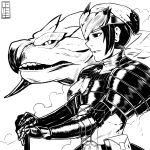 1girl absurdres armor cete_(controllingtime) greyscale highres monochrome monster_hunter monster_hunter:_world open_mouth rathian rathian_(armor) solo