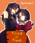 2girls :d absurdres animal_ears bat_ears bat_wings black_gloves brown_eyes character_request dress elbow_gloves exa_(koyuru) eyebrows_visible_through_hair fake_animal_ears food_themed_hair_ornament gloves hair_ornament halloween halloween_costume highres kara_no_kyoukai long_hair looking_at_viewer multiple_girls open_mouth orange_background pumpkin pumpkin_hair_ornament purple_dress purple_hair red_dress ryougi_shiki short_hair simple_background sleeveless sleeveless_dress smile trick_or_treat wings