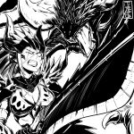 absurdres angry armor cete_(controllingtime) greyscale highres monochrome monster_hunter monster_hunter:_world nergigante nergigante_(armor) screaming solo