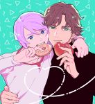 2boys aqua_background aqua_eyes arm_around_shoulder arm_around_waist bangs black_shirt blue_eyes brown_hair double_decker! doughnut douglas_billingham eating food heart kirill_vrubel male_focus multiple_boys parted_bangs peperonchiino_takuma purple_hair shirt standing upper_body white_shirt