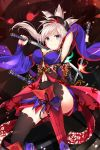1girl armpits bangs black_legwear blue_eyes blue_sleeves breasts cleavage detached_sleeves dual_wielding fate/grand_order fate_(series) floating_hair hair_ornament highres holding holding_sword holding_weapon katana large_breasts long_hair long_sleeves miyamoto_musashi_(fate/grand_order) navel navel_cutout sheath silver_hair solo swept_bangs sword takehana_note thigh-highs weapon wide_sleeves
