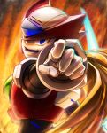 android blonde_hair blue_eyes capcom gloves grin helmet inualet33 long_hair looking_at_viewer looking_back male_focus open_mouth pointing pointing_at_viewer rockman rockman_x smile solo upper_body white_gloves zero_(rockman)