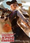 1girl ashe_(overwatch) blurry blurry_background breasts character_name cowboy_hat earrings facing_viewer fingerless_gloves gloves gun hat highres holding holding_gun holding_weapon jewelry lipstick looking_back looking_to_the_side makeup medium_breasts mole_above_mouth nail_polish necktie overwatch raikoart red_eyes red_lipstick shirt short_hair signature solo tattoo watermark weapon white_hair