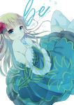 1girl :o bangs bare_shoulders beatrice blonde_hair blue_dress blush commentary_request dress eyebrows_visible_through_hair flower frilled_sleeves frills green_eyes hair_flower hair_ornament hand_up kuriyuzu_kuryuu long_hair looking_at_viewer looking_to_the_side off_shoulder parted_lips red_flower red_rose rose simple_background solo thigh-highs umineko_no_naku_koro_ni very_long_hair white_background white_legwear