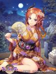 1girl breasts brown_hair company_name copyright_request earrings fan fence floral_print flower full_moon hair_flower hair_ornament holding holding_fan horns japanese_clothes jewelry kimono long_hair looking_at_viewer medium_breasts moon night night_sky official_art orange_kimono outdoors paper_fan plant pointy_ears potted_plant sitting sky smile tree violet_eyes wide_sleeves yamyom