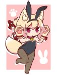 1girl :o animal_ear_fluff animal_ears bangs bare_shoulders bell bell_collar black_hairband black_leotard blonde_hair blush brown_collar brown_legwear chibi collar commentary_request eyebrows_visible_through_hair fake_animal_ears fox_ears fox_girl fox_tail full_body gloves hair_between_eyes hair_ornament hairband hands_up highres jingle_bell kemomimi-chan_(naga_u) leotard naga_u no_shoes original pantyhose parted_lips paw_gloves paws pink_background rabbit_ears red_eyes sidelocks solo standing standing_on_one_leg strapless strapless_leotard tail two-tone_background white_background