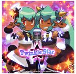2girls aqua_hair bare_shoulders bow breasts capcom dark_skin detached_sleeves eyebrows_visible_through_hair eyeshadow frilled_skirt frills green_hair hair_ornament hat highres idol ishikawa_hideki long_hair makeup microphone midriff mini_hat miniskirt multiple_girls one_eye_closed red_eyes rockman rockman_dash sera_(rockman_dash) short_hair skirt small_breasts smile sweatdrop thigh-highs twintails v yuna_(rockman_dash) zettai_ryouiki