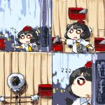 1girl 4koma :d :o black_hair comic hat hiding mailbox_(incoming_mail) newspaper numbered_panels open_mouth pom_pom_(clothes) running scarecrow shameimaru_aya shirt smile target telephone_pole tokin_hat touhou wings yaise