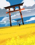 1girl absurdres asuteroid bird clouds cloudy_sky commentary_request day from_behind grass highres iz_(asuteroid) long_hair nature original outdoors scenery sky solo standing torii very_long_hair white_hair wide_shot