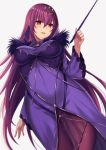 1girl ass_visible_through_thighs bangs breasts commentary_request covered_navel dress dutch_angle eyebrows_visible_through_hair fate/grand_order fate_(series) fur-trimmed_dress fur_trim grey_background hair_between_eyes harimoji headpiece holding holding_wand large_breasts long_hair long_sleeves purple_dress purple_hair red_eyes scathach_(fate)_(all) scathach_skadi_(fate/grand_order) see-through simple_background solo very_long_hair wand wide_sleeves