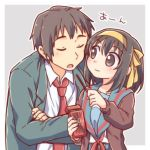 1boy 1girl bangs black_hair brown_cardigan brown_eyes brown_hair cardigan closed_eyes couple feeding food hairband kita_high_school_uniform kyon necktie pocky pocky_day red_neckwear school_uniform serafuku short_hair suzumiya_haruhi suzumiya_haruhi_no_yuuutsu taiki_(6240taiki) upper_body yellow_hairband