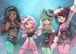 4girls aori_(splatoon) black_hair crown dark_skin earrings gloves green_legwear hime_(splatoon) hotaru_(splatoon) humanization iida_(splatoon) jewelry long_hair looking_at_viewer mole mole_under_eye mole_under_mouth multiple_girls navel_piercing nintendo open_mouth pantyhose pantyhose_under_shorts piercing pink_legwear pink_pupils short_hair simple_background smile splatoon splatoon_1 splatoon_2 suction_cups wong_ying_chee zipper zipper_pull_tab