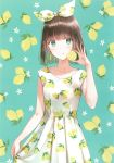 1girl :q absurdres aqua_background aqua_eyes arm_at_side artist_request bangs blue_eyes bob_cut bow brown_hair collarbone copyright_request cowboy_shot dot_nose dress earrings eyebrows_visible_through_hair food food_print fruit fruit_background hair_bow hair_ribbon highres hiten_(hitenkei) holding holding_food huge_filesize jewelry lemon lemon_print lemon_slice looking_at_viewer original print_bow print_dress print_ribbon ribbon short_hair skirt_hold sleeveless sleeveless_dress smile solo source_request standing tongue tongue_out white_dress
