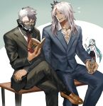 1girl 2boys bench black_pants black_skirt blue_hair book brown_footwear brynhildr_(fate) contemporary cropped_legs danann fate/grand_order fate_(series) formal glasses green_eyes grey_hair highres holding holding_book legs_crossed long_hair mask multicolored_hair multiple_boys necktie pants pencil_skirt reading red_neckwear shoes siegfried_(fate) sigurd_(fate/grand_order) sitting skirt suit two-tone_hair white_hair