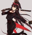 1girl black_hair black_legwear bomb boots breasts bunnysuit cleavage fate_(series) gloves grey_background grin gun hat high_heels highres holding holding_gun holding_weapon koha-ace long_hair looking_at_viewer oda_nobunaga_(fate) one_eye_closed pantyhose red_eyes rifle simple_background smile solo thigh-highs thigh_boots very_long_hair weapon white_gloves ya_4004