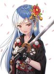 1girl 5ya bangs bell black_gloves black_kimono blue_hair breasts cherry_blossoms collarbone copyright_request earrings eyebrows_visible_through_hair flower gloves hair_bell hair_flower hair_ornament hand_up highres holding holding_sword holding_weapon japanese_clothes jewelry jingle_bell kimono long_hair looking_at_viewer medium_breasts obi red_eyes red_flower rope sash simple_background smile solo sword upper_body very_long_hair weapon white_background wide_sleeves wind