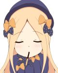 1girl abigail_williams_(fate/grand_order) absurdres bangs black_bow black_hat blonde_hair blue_dress blue_eyes blush bow closed_eyes commentary_request dress eyebrows_visible_through_hair facing_viewer fate/grand_order fate_(series) food_in_mouth forehead hair_bow hat highres long_hair long_sleeves mitchi mouth_hold orange_bow parted_bangs parted_lips pocky_day polka_dot polka_dot_bow simple_background solo upper_body very_long_hair white_background