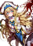 1girl aloe_(kenkou3733) blonde_hair blood bloomers blue_eyes blush boots crying dress frills goblin_slayer! highres holding holding_staff long_hair long_sleeves looking_at_viewer parted_lips priestess_(goblin_slayer!) sad simple_background solo staff tears thigh-highs thigh_boots torn_clothes underwear white_background wide_sleeves
