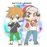 2boys baseball_cap chibi creatures_(company) game_freak hat highres male_focus multiple_boys nintendo ookido_green pokemon pokemon_(game) pokemon_sm red_(pokemon) shiro_(tiotolv) spiky_hair