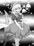 >:) 1girl breasts bubble_skirt commentary_request flower frilled_legwear frilled_shirt_collar frilled_skirt frilled_sleeves frills highres huge_bow kakone leaf lily_of_the_valley looking_at_viewer medicine_melancholy medium_breasts monochrome puffy_short_sleeves puffy_sleeves ribbon short_sleeves skirt smile touhou tsurime