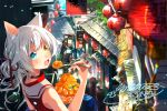 1girl :o animal_ears bare_arms blue_eyes blurry blush cat_ears catulus_syndrome choker colored_eyelashes crowd day depth_of_field food hair_ribbon heterochromia highres holding holding_food holding_spoon lantern long_hair looking_at_viewer looking_back nail_polish official_art open_mouth orange_eyes outdoors paper_lantern red_nails ribbon road rooftop shaved_ice shinonome_neko-tarou shirakaba_yuki signature sleeveless solo_focus spoon street tied_hair upper_body white_hair
