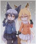 2girls animal_ears bow bowtie coat commentary_request cowboy_shot eyebrows_visible_through_hair ezo_red_fox_(kemono_friends) fangs fox_ears fox_tail fur_collar fur_trim gloves grey_hair highres kemono_friends kolshica long_hair long_sleeves multicolored_hair multiple_girls necktie orange_hair pantyhose pleated_skirt silver_fox_(kemono_friends) silver_hair skirt tail yellow_eyes