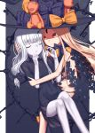 2girls abigail_williams_(fate/grand_order) absurdres bangs black_bow black_dress black_hat black_panties blonde_hair bow closed_mouth commentary_request dress fate/grand_order fate_(series) hand_in_hair hat hat_bow highres key lavinia_whateley_(fate/grand_order) long_hair multiple_girls navel orange_bow pale_skin panties parted_bangs parted_lips puffy_short_sleeves puffy_sleeves red_eyes revealing_clothes sanbe_futoshi short_sleeves skull_print smile stuffed_animal stuffed_toy teddy_bear topless underwear very_long_hair violet_eyes white_hair wide-eyed witch_hat
