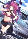 1girl bangs black_legwear black_skirt blue_eyes blue_sky blush breasts car character_name cleavage closed_mouth clothes_writing clouds commentary_request crop_top day dragon_girl dragon_horns dragon_tail dutch_angle elizabeth_bathory_(fate) elizabeth_bathory_(fate)_(all) fang fate/extra fate/extra_ccc fate/grand_order fate_(series) gedou_(shigure_seishin) ground_vehicle hand_on_hip hand_up hip_vent honda_s2000 horns kneehighs long_hair medium_breasts midriff miniskirt motor_vehicle navel outdoors pointy_ears purple_hair racequeen sidelocks skirt sky smile solo standing symbol-shaped_pupils tail v v-shaped_eyebrows wrist_cuffs