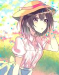 1girl brown_eyes brown_hair dress_shirt eyebrows_visible_through_hair hair_between_eyes hand_in_hair hat hat_ribbon leaning_forward open_mouth original red_ribbon ribbon shirt short_hair short_sleeves skirt solo tamtamitai upper_body white_shirt white_skirt yellow_hat