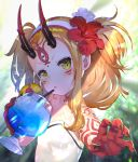 1girl :o arm_tattoo bangs bare_shoulders black_nails blonde_hair blue_hawaii blush collarbone cup day drink drinking_glass drinking_straw facial_mark fang fate/grand_order fate_(series) fingernails flat_chest flower forehead_mark foreshortening hair_flower hair_ornament hairband head_tilt hibiscus highres ibaraki_douji_(fate/grand_order) ibaraki_douji_(swimsuit_lancer)_(fate) long_hair looking_at_viewer nail_polish nayuta_(una) oni oni_horns outdoors outstretched_arm pineapple_slice reaching_out red_flower shade sharp_fingernails sidelocks slit_pupils solo sunlight swimsuit tattoo two_side_up upper_body white_hairband white_swimsuit yellow_eyes