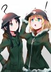 ! 2girls :o ? absurdres artist_name black_eyes black_hair blonde_hair blue_eyes blush chito_(shoujo_shuumatsu_ryokou) cowboy_shot fur-trimmed_jacket fur_trim hair_between_eyes hand_on_hip helmet highres jacket multiple_girls short_hair shoujo_shuumatsu_ryokou sidelocks tegar32 white_background yuuri_(shoujo_shuumatsu_ryokou)