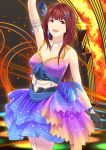 :d arm_up armlet baiyin black_gloves breasts brown_eyes brown_hair cleavage dress feathers gloves hair_feathers hair_ornament hairclip idolmaster idolmaster_million_live! idolmaster_million_live!_theater_days long_hair looking_at_viewer open_mouth small_breasts smile standing tanaka_kotoha