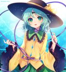 1girl aqua_background aqua_hair aqua_nails bangs black_hat bow eyebrows_visible_through_hair frilled_sleeves frills gradient gradient_background green_eyes green_skirt hands_up hat hat_bow head_tilt komeiji_koishi long_hair long_sleeves looking_at_viewer marota nail_polish parted_lips shirt skirt smile solo third_eye touhou twitter_username upper_body wide_sleeves yellow_bow yellow_shirt