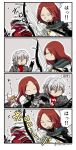 2boys 2girls 4koma antonio_salieri_(fate/grand_order) asaya_minoru bangs beamed_eighth_notes black_cape black_gloves bow_(weapon) breastplate brown_hair cape closed_eyes comic commentary_request eighth_note eyebrows_visible_through_hair fate/grand_order fate_(series) flying_sweatdrops forehead formal fujimaru_ritsuka_(female) fur-trimmed_cape fur_trim gloves grey_jacket hair_between_eyes hair_ornament hair_scrunchie hand_up holding holding_bow_(weapon) holding_weapon jacket jeanne_d'arc_(alter)_(fate) jeanne_d'arc_(fate)_(all) long_hair long_sleeves monster multiple_boys multiple_girls musical_note one_side_up open_mouth orange_scrunchie parted_bangs pinstripe_pattern pinstripe_suit red_scarf redhead scarf scrunchie shirt silver_hair striped suit translation_request tristan_(fate/grand_order) twitter_username weapon white_shirt