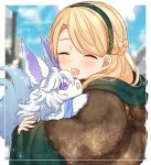 1girl blonde_hair blue_sky blurry blurry_background braid clouds cloudy_sky creature day depth_of_field eyebrows_behind_hair fate/grand_order fate_(series) fingernails fou_(fate/grand_order) gerda_(fate) green_hairband hairband hood hood_down hug karokuchitose long_hair long_sleeves outdoors sky sleeves_past_wrists upper_body violet_eyes wide_sleeves